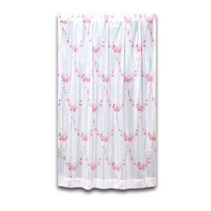 水彩風花柄が可愛いレースカーテン L.ブーケ ピンク