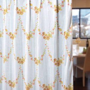 水彩風花柄が可愛いレースカーテン L.ブーケ イエロー