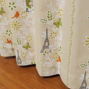 可愛らしいデザイン 遮光オーダーカーテン リヨン ベージュ