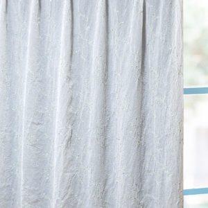 刺繍柄が可愛いレースカーテン シワ加工 ボイル生地 L.ライアン グリーン
