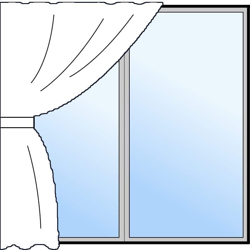 片開き(1つの窓に1枚のカーテン)